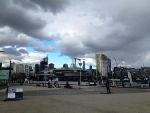 Melbourne: view on the Docklands and Etihad Stadium