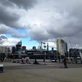 Melbourne: view on the Doclands and the Etihad Stadium