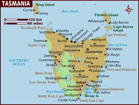 Map of Tasmania (source: Lonely Planet)