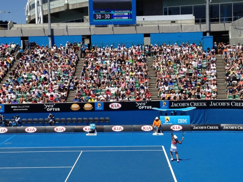 Francesca Schiavone serving at AusOpen 2013