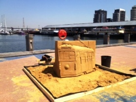Sand Sculpture - one of Melbourne's symbols: the City Circle Tram. Docklands, Melbourne