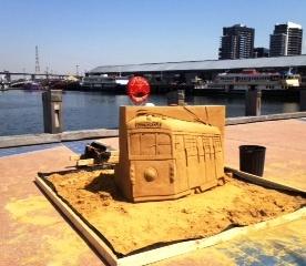 Sand Sculpture - one of Melbourne's symbols: the City Circle Tram. Docklands, Melbourne
