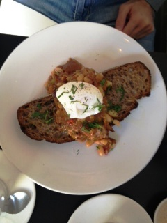 @MissJackson - Boston beans with ham hock, poached egg on rye