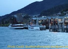 View of the Lake Wakatipu & Restaurants. Source: lavaleandherworld.wordpress.com