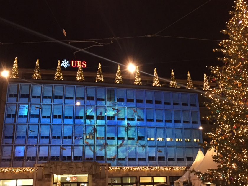 Projections on the UBS building, Zurich (Photo credit: http://www.lavaleandherworld.wordpress.com)