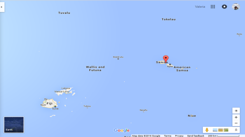 Where is Samoa (Source google maps)