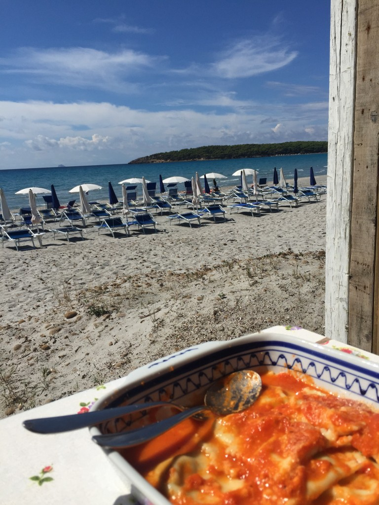 Ravioli with a view @ Porto Pino, Sardegna (Photo credit: https://lavaleandherworld.wordpress.com)