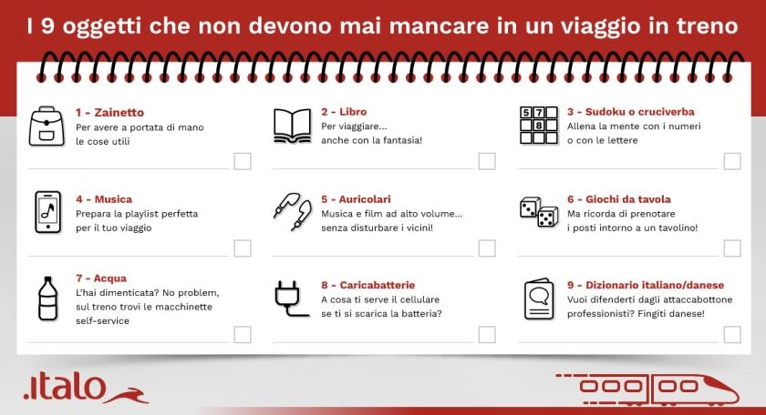Italo: 9 oggetti che non devono mai mancare in un viaggio in treno